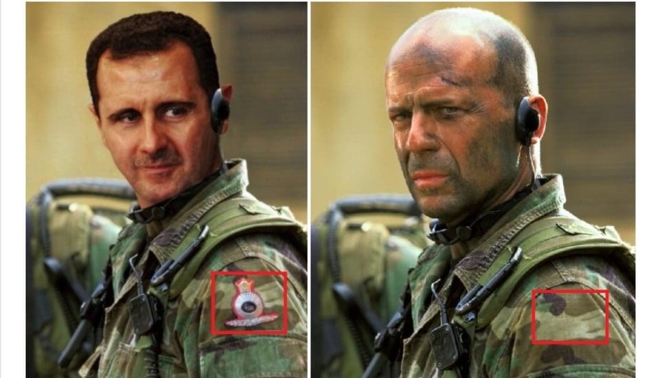 بشار الأسد يظهر بالزي العسكري الرسمي متشبها بممثل أمريكي وموالون ومعارضون يكشفون ماخفي